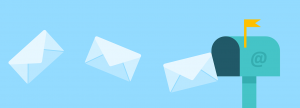 mail flying into mailbox
