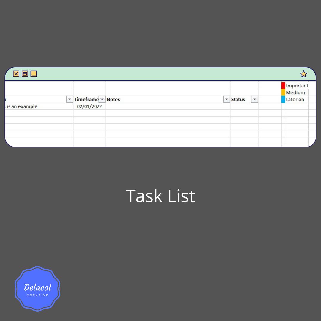 delacolcreative.co.uk task list